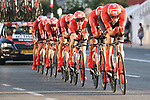 Team Sunweb in action during Stage 1 of La Vuelta 2019, a team time trial running 13.4km from Salinas de Torrevieja to Torrevieja, Spain. 24th August 2019.<br /> Picture: Luis Angel Gomez/Photogomezsport | Cyclefile<br /> <br /> All photos usage must carry mandatory copyright credit (© Cyclefile | Luis Angel Gomez/Photogomezsport)