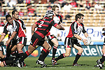Ben Meyer looks to his backs as Poaloi Taula, John Fonokalafi & James Maher watch during the Ranfurly Shield challenge against Canterbury at Jade Stadium on the 10th of September 2006. Canterbury won 32 - 16.