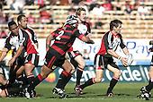 Ben Meyer looks to his backs as Poaloi Taula, John Fonokalafi & James Maher watch during the Ranfurly Shield challenge against Canterbury at Jade Stadium on the 10th of September 2006. Canterbury won 32 - 16.