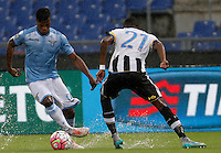 Calcio, Serie A: Lazio vs Udinese. Roma, stadio Olimpico, 13 settembre 2015.<br /> Lazio&rsquo;s Keita Diao, left, is challenged by Udinese's Andrade Edenilson during the Italian Serie A football match between Lazio and Udinese at Rome's Olympic stadium, 13 September 2015.<br /> UPDATE IMAGES PRESS/Isabella Bonotto