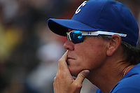 SURPRISE, AZ - MARCH 20:  Manager Ned Yost of the Kansas City Royals watches during the spring training game between the Texas Rangers and the Kansas City Royals on March 20, 2011 at Surprise Stadium in Surprise, Arizona. Photo by Brad Mangin