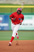 Clearwater Threshers left fielder Cornelius Randolph (2) running the bases during a game against the Palm Beach Cardinals on April 14, 2017 at Spectrum Field in Clearwater, Florida.  Clearwater defeated Palm Beach 6-2.  (Mike Janes/Four Seam Images)