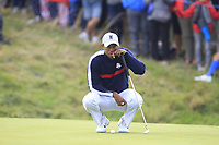 Tiger Woods (Team USA) on the 8th green during Friday Fourball at the Ryder Cup, Le Golf National, Iles-de-France, France. 28/09/2018.<br /> Picture Thos Caffrey / Golffile.ie<br /> <br /> All photo usage must carry mandatory copyright credit (© Golffile | Thos Caffrey)