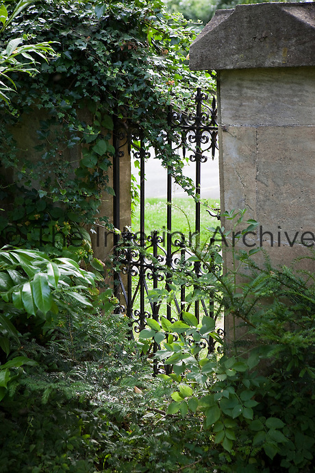 A partly hidden wrought iron gate leads from an English country garden