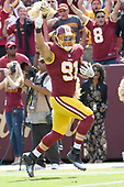 Washington Redskins outside linebacker Ryan Kerrigan (91) celebrated his interception for a touchdown in the second quarter against the Philadelphia Eagles at FedEx Field in Landover, Maryland on Sunday, September 10, 2017.<br /> Credit: Ron Sachs / CNP
