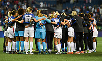 Seattle, WA - Thursday July 27, 2017: USWNT huddle up after their loss to Australia during a 2017 Tournament of Nations match between the women's national teams of the United States (USA) and Australia (AUS) at CenturyLink Field.