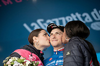 podium ceremony for the Maglia Azzurra / KOM leader Giulio Ciccone (ITA/Trek-Segafredo)<br /> <br /> Stage 17: Commezzadura (Val di Sole) to Anterselva/Antholz (181km)<br /> 102nd Giro d'Italia 2019<br /> <br /> ©kramon