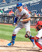 New York Mets center fielder Brandon Nimmo (9) draws a walk in the sixth inning against the Washington Nationals at Nationals Park in Washington, D.C. on Wednesday, September 4, 2019.  The Mets won the game 8 - 4.<br /> Credit: Ron Sachs / CNP<br /> (RESTRICTION: NO New York or New Jersey Newspapers or newspapers within a 75 mile radius of New York City)