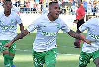 MONTERIA - COLOMBIA, 28-07-2019: Jarlan Barrera de Nacional celebra después de anotar el primer gol de su equipo durante el partido por la fecha 3 de la Liga Águila II 2019 entre Jaguares de Córdoba F.C. y Atlético Nacional jugado en el estadio Jaraguay de la ciudad de Montería / Jarlan Barrera of Nacional celebrates after scoring the first goal of his team during match for the date 3 as part Aguila League II 2019 between Jaguares de Corrdoba F.C. and Atletico Nacional played at Jaraguay stadium in Monteria city. Photo: VizzorImage / Andres Rios / Cont