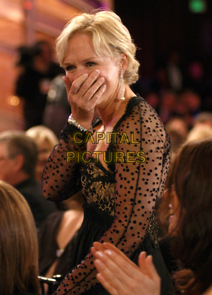 GLENN CLOSE.62nd Annual Golden Globe Awards, Beverly Hills, Los Angeles, California.January 16th, 2005.half length, hand over mouth, gesture, surprised, shocked, sheer, chiffon polka dot sleeves.www.capitalpictures.com.sales@capitalpictures.com.Supplied by Capital Pictures.