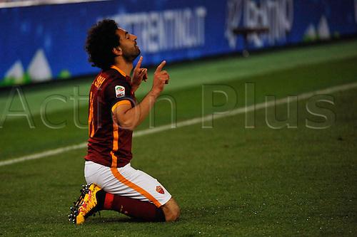 04.03.2016. Stadium Olimpico, Rome, Italy.  Serie A football league. AS Roma versus Fiorentina. Salah celebrates his goal