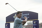 Yao Ming tees off the 1st hole during the World Celebrity Pro-Am 2016 Mission Hills China Golf Tournament on 21 October 2016, in Haikou, China. Photo by Weixiang Lim / Power Sport Images
