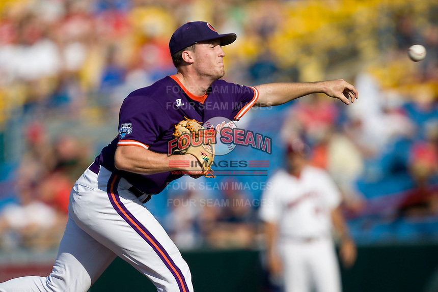 Clemson starting pitcher Casey Harman in Game 14 of the NCAA Division One Men's College World Series on June 26th, 2010 at Johnny Rosenblatt Stadium in Omaha, Nebraska.  (Photo by Andrew Woolley / Four Seam Images)