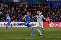 7th March 2020; Coliseum Alfonso Perez, Madrid, Spain; La Liga Football, Club Getafe Club de Futbol versus Celta Vigo; Jaime Mata (Getafe CF) challenges Brais Mendez (Celta de Vigo)