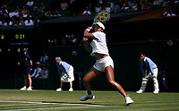 Naomi Osaka (JPN) during her match against Angelique Kerber (GER) in their Ladies' Singles Third Round match<br /> <br /> Photographer Rob Newell/CameraSport<br /> <br /> Wimbledon Lawn Tennis Championships - Day 6 - Saturday 7th July 2018 -  All England Lawn Tennis and Croquet Club - Wimbledon - London - England<br /> <br /> World Copyright &not;&copy; 2017 CameraSport. All rights reserved. 43 Linden Ave. Countesthorpe. Leicester. England. LE8 5PG - Tel: +44 (0) 116 277 4147 - admin@camerasport.com - www.camerasport.com