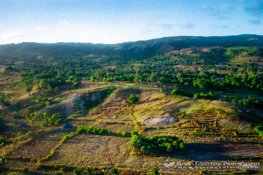 Pulau Sawu, East Nusa Tenggara. The dry and hot winds from Australia makes the landscape look torrid, for long periods of the year there is no rain here (from helicopter).
