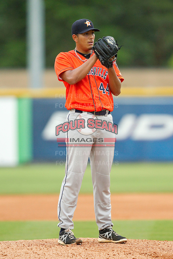 Greeneville Astros starting pitcher Enderson Franco (44) looks to his catcher for the sign against the Burlington Royals at Burlington Athletic Park on July 1, 2013 in Burlington, North Carolina.  The Astros defeated the Royals 8-1 in Game Two of a doubleheader.  (Brian Westerholt/Four Seam Images)