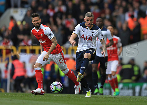 April 30th 2017, White Hart Lane, Tottenham, London England; EPL Premier League football Tottenham Hotspur versus Arsenal; Toby Alderweireld of Tottenham Hotspur passing the ball
