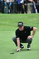 Miguel Angel Jimenez lines up his putt on the 13th hole during the final round of the 2008 BMW PGA Championship at Wentworth Club, Surrey, England 25th May 2008 (Photo by Eoin Clarke/GOLFFILE)