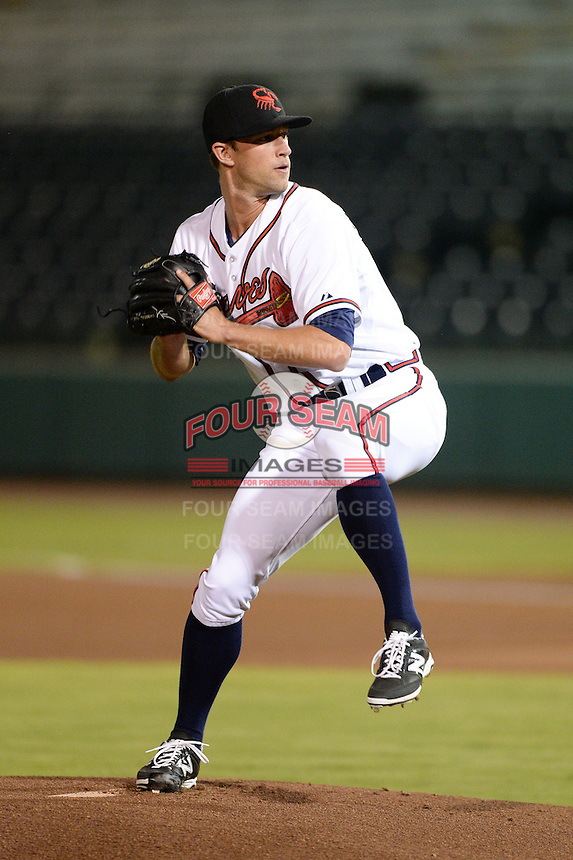 Scottsdale Scorpions pitcher Aaron Northcraft (60), of the Atlanta Braves organization, during an Arizona Fall League game against the Salt River Rafters on October 9, 2013 at Scottsdale Stadium in Scottsdale, Arizona.  Salt River defeated Scottsdale 12-2.  (Mike Janes/Four Seam Images)