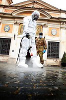 Sanitation of the ancient church of Divino Amore Sanctuary<br /> Roma May 13th 2020. Due to the next reopening of the religious celebrations scheduled on May 18th, the Italian Army, together with the municipality operators at the specific request of the Vicariate of Rome, started today the sanitation activities of the external and internal areas of the Capitoline Churches through its specialized teams in the Chemical, Biological, Radiological and Nuclear (CBRN) fields. <br /> Photo Samantha Zucchi Insidefoto