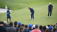 Tyrrell Hatton (Team Europe) practice putts on the 9th after losing the hole during Friday's Fourballs, at the Ryder Cup, Le Golf National, Îls-de-France, France. 28/09/2018.<br /> Picture David Lloyd / Golffile.ie<br /> <br /> All photo usage must carry mandatory copyright credit (© Golffile | David Lloyd)