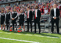 17 September 2011: The coaching staff of the Toronto FC stands for the national anthems during an MLS game between the Colorado Rapids and the Toronto FC at BMO Field in Toronto, Ontario Canada..Toronto FC won 2-1.