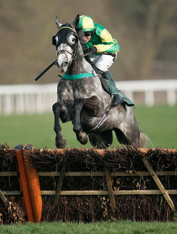 Jack Albert ridden by Brian Harding jumps before going on to win the 15.55 The Betfred Goals Galore Extra Handicap Hurdle Race (Class 4)<br /> <br /> Photo by Jack Phillips/CameraSport<br /> <br /> Horse Racing - National Hunt Racing - Uttoxeter Racecourse - Saturday 29th March 2014 - Uttoxeter<br /> <br /> &copy; CameraSport - 43 Linden Ave. Countesthorpe. Leicester. England. LE8 5PG - Tel: +44 (0) 116 277 4147 - admin@camerasport.com - www.camerasport.com