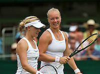 England, London, June 30, 2015, Tennis, Wimbledon, Womans dubbles: Kiki Bertens (NED) (R) and her partner Alison Riske (USA)<br /> Photo: Tennisimages/Henk Koster