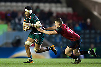 Valentino Mapapalangi of Leicester Tigers takes on the Munster Rugby defence. European Rugby Champions Cup match, between Leicester Tigers and Munster Rugby on December 17, 2017 at Welford Road in Leicester, England. Photo by: Patrick Khachfe / JMP