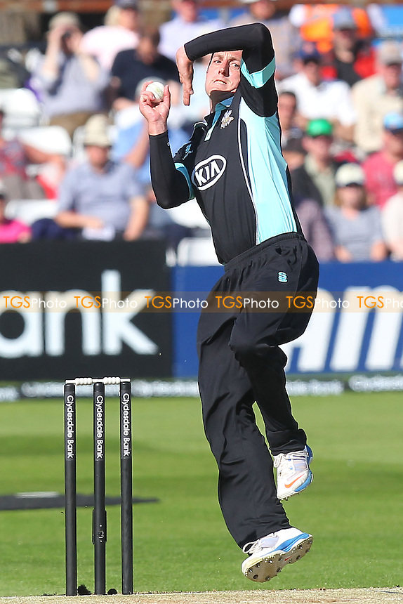 Jon Lewis in bowling action for Surrey - Essex Eagles vs Surrey Lions - Yorkshire Bank YB40 Cricket at the Essex County Ground, Chelmsford - 03/06/13 - MANDATORY CREDIT: Gavin Ellis/TGSPHOTO - Self billing applies where appropriate - 0845 094 6026 - contact@tgsphoto.co.uk - NO UNPAID USE