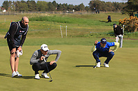 Joakim Lagergren (SWE) and Andrea Pavan (ITA) on the 4th green during Round 2 of the Betfred British Masters 2019 at Hillside Golf Club, Southport, Lancashire, England. 10/05/19<br /> <br /> Picture: Thos Caffrey / Golffile<br /> <br /> All photos usage must carry mandatory copyright credit (&copy; Golffile | Thos Caffrey)