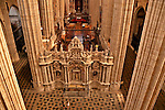 Catedral Nueva, built in the 16th and 17th centuries, looking down into the transcept and choir loft from stone balcony