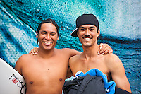HONOLULU/Oahu/Hawaii.(Nov. 27, 2011) Kekoa Bacalso (HAW) and Gavin Gillette (HAW). -- The $250,000 Vans World Cup of Surfing commenced today  in serious 10- to 12-foot surf at Sunset Beach on Oahu's North Shore. The Vans World Cup is the second leg of the 29th annual Vans Triple Crown of Surfing, presented by Rockstar Energy Drink.. Photo: joliphotos.com