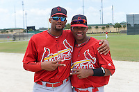 St. Louis Cardinals Rafael Medina (35) and Luis Perez (44) before a minor league spring training intrasquad game on March 28, 2014 at the Roger Dean Stadium Complex in Jupiter, Florida.  (Mike Janes/Four Seam Images)