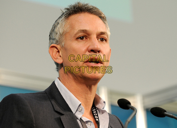 Gary Lineker.Mayor Of London's Cycling Press Conference, London Media Centre, London, England..August 10th 2012.headshot portrait black mouth open  .CAP/BK.PP.©Bob Kent/PP/Capital Pictures.