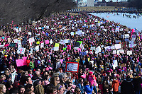 Washington, DC - January 20, 2018: Thousands of people gathered on the grounds of the Lincoln Memorial in Washington, DC, January 20, 2018, to participate in the Women's March to protest President Donald Trump and support women's rights.   (Photo by Don Baxter/Media Images International)