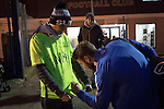 Southend United 1 Burton Albion 1, 22/02/2016. Roots Hall, League One. A home player signing a replica shirt for a supporter outside Roots Hall stadium, before Southend United took on Burton Albion in a League 1 fixture. Founded in 1906, Southend United moved into their current ground in 1955, the construction of which was funded by the club's supporters. Southend won this match by 3-1, watched by a crowd of 6503. Photo by Colin McPherson.