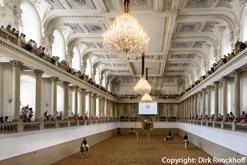 Spanische Hofreitschule, Morgenarbeit der Lipizzaner-Hengste in der barocken Reithalle, Wien, &Ouml;sterreich, UNESCO-Weltkulturerbe<br /> spanish riding school at training in the Baroque hall, Vienna, Austria, world heritage