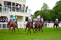 Horses pass the Winning Post after The First Carlton Novice Auction Stakes Div 2 during Evening Racing at Salisbury Racecourse on 11th June 2019