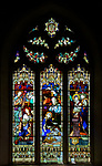 Victorian 19th century stained glass window, Claydon church, Suffolk, England, UK c 1897 by A L Moore