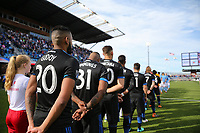 San Jose, CA - Saturday March 31, 2018: San Jose Earthquakes  during a Major League Soccer (MLS) match between the San Jose Earthquakes and New York City FC at Avaya Stadium.