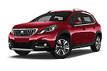 Stock pictures of low aggressive front three quarter view of 2016 Peugeot 2008 Allure 5 Door SUV Low Aggressive