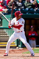Thomas Pham (4) of the Springfield Cardinals at bat during a game against the Frisco RoughRiders on April 16, 2011 at Hammons Field in Springfield, Missouri.  Photo By David Welker/Four Seam Images