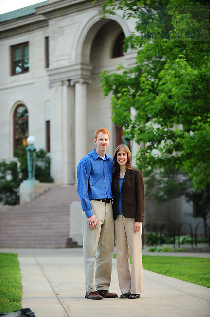 Josh Eckert and his wife ???? in front of Bond Hall, for development website.