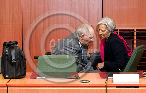 BRUSSELS - BELGIUM - 20 FEBRUARY 2012 -- European Council meeting of Eurozone finance ministers on a second bail-out package for Greece. --  Wolfgang SCHÃUBLE (le) (Schaeuble, Schauble), Federal Minister for Finance of Germany with Christine LAGARDE, Managing Director of the International Monetary Fund. -- PHOTO: Juha ROININEN /  EUP-IMAGES