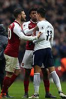 Shkodran Mustafi of Arsenal and Erik Lamela of Tottenham Hotspur square up after Tottenham Hotspur vs Arsenal, Premier League Football at Wembley Stadium on 10th February 2018