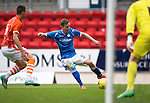 St Johnstone v Blackpool...25.07.15  McDiarmid Park, Perth.. Pre-Season Friendly<br /> Steven MacLean's shot is saved by Colin Doyle<br /> Picture by Graeme Hart.<br /> Copyright Perthshire Picture Agency<br /> Tel: 01738 623350  Mobile: 07990 594431