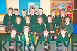 Junior infants at Gaelscoil Lios Tuathail on Monday.  Front l-r Ella Ni? hAnnai?n, Aoife de Stack, Leah ni? Sheibhli?n, Jason O? Murchu?..Middle l-r Aimee Ni? Ghrifin, Caoimhe Le?id, Labhaoise Ni? Shuilleabhai?n Murchu?, Aoife ni? Ghrifi?n and Christina ni? Shi?ocha?in Failbhe..Back l-r Rosie Narwick, Dylan O? Maolamhnaigh, Darragh MacFhi?obhui?, Jake S Seighin, Darragh O? Maoilmhichil, Aiobhinn Ni? Mhuireasa and Kelsie baro?id..   Copyright Kerry's Eye 2008