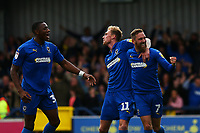 Mitchell Pinnock (C) of AFC Wimbledon scores the third goal for his team and celebrates during AFC Wimbledon vs Rochdale, Sky Bet EFL League 1 Football at the Cherry Red Records Stadium on 5th October 2019